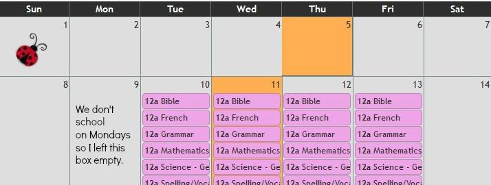 Lord Heritage Calendar example