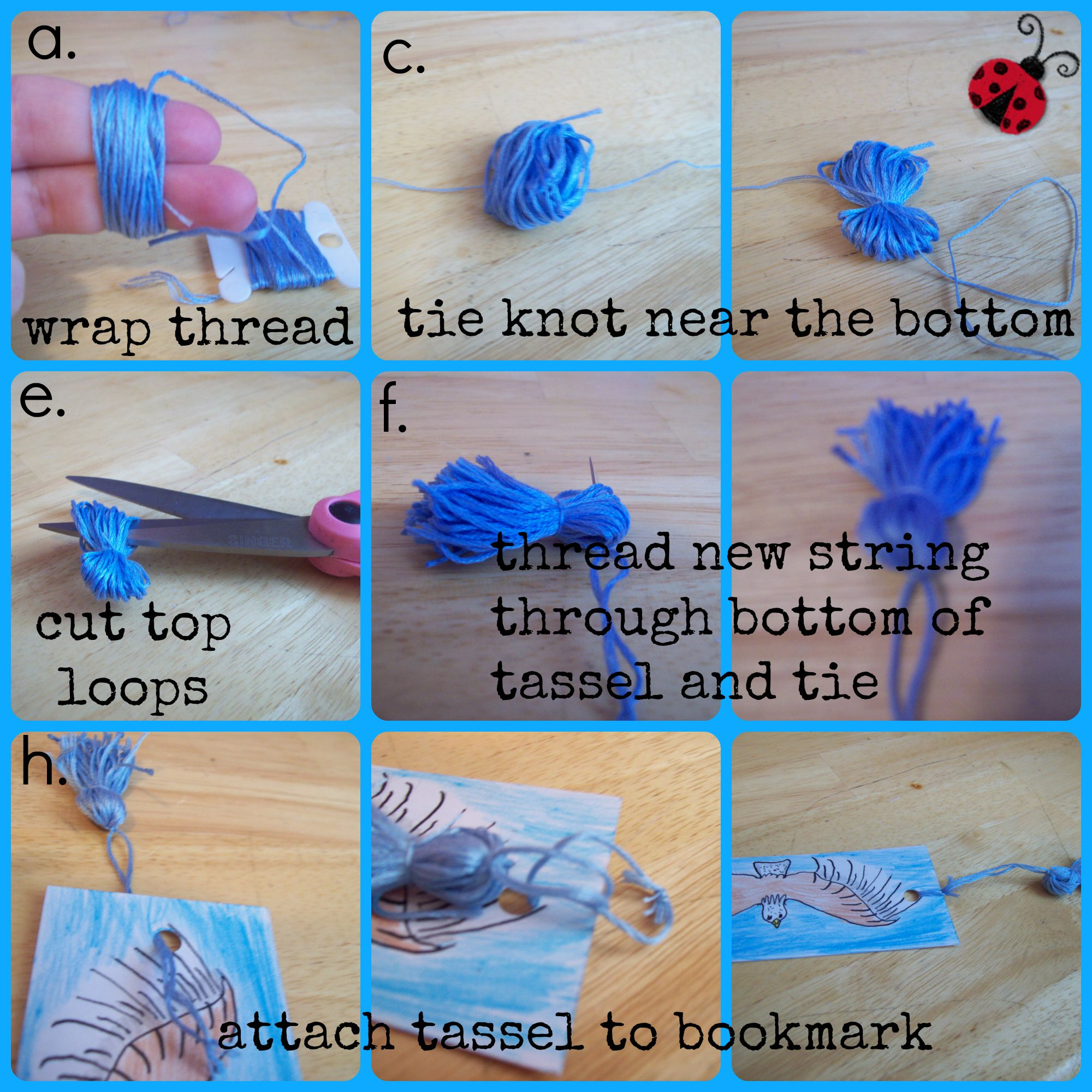 Diy tassel bookmark craftbnb How to make a simple bookmark