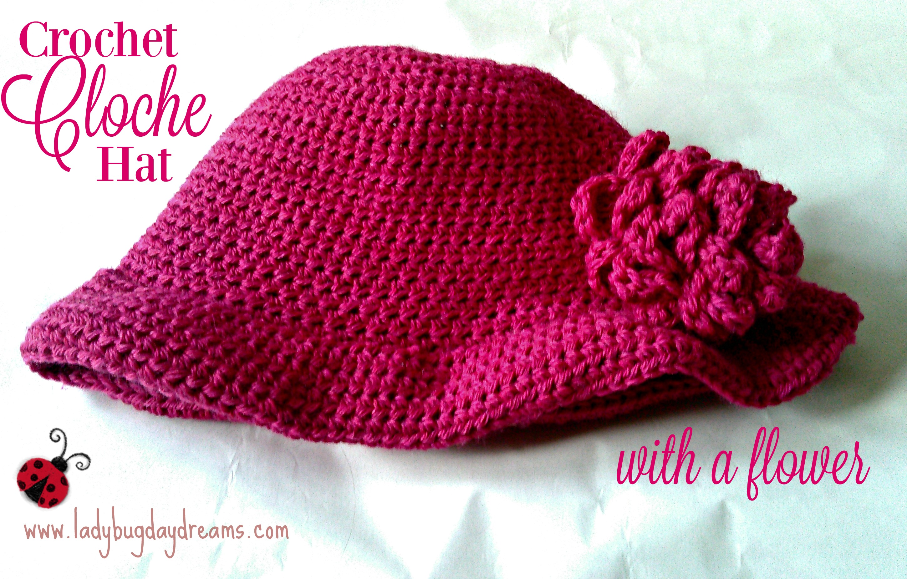 crochet cloche hat with flower