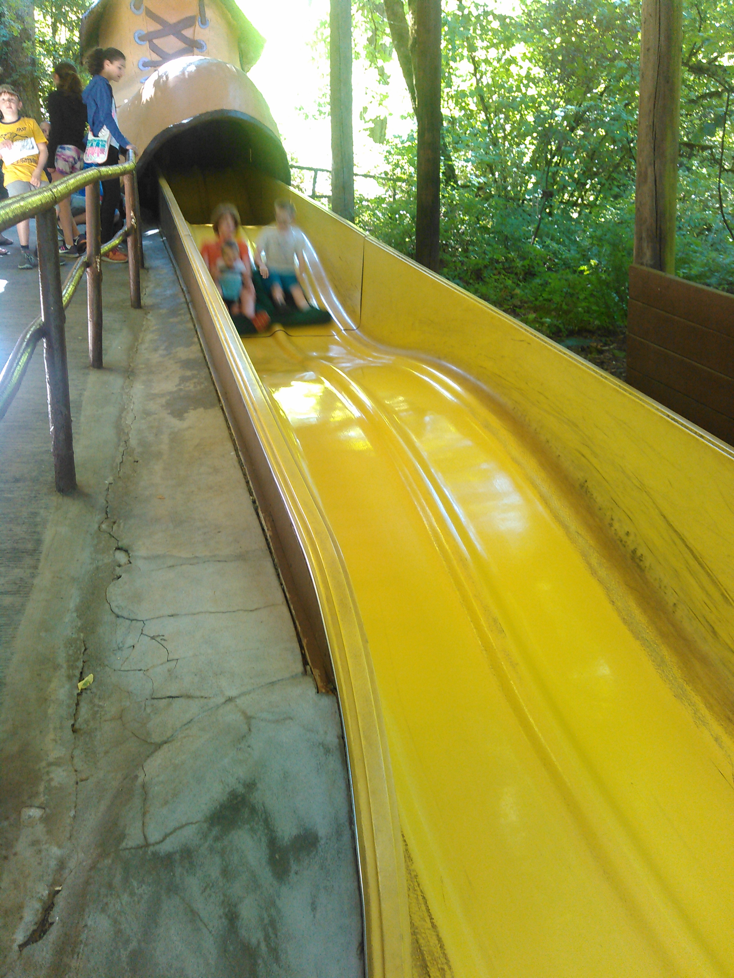 The shoe is a giant slide