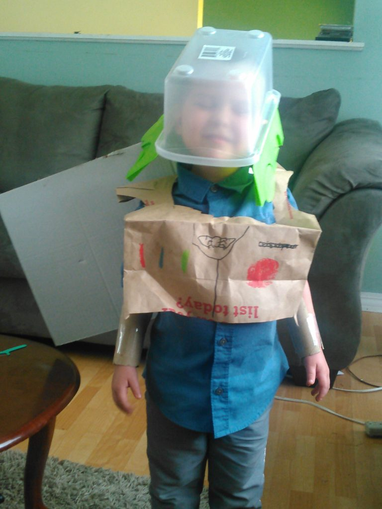 In his homemade Buzz Lightyear costume before the event