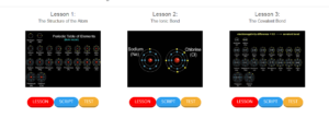 The firs three lessons. You can see the lesson name as well as the sections for each lesson - video, script, and test.