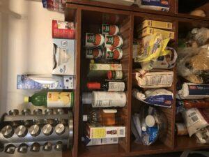 a bookshelf full of food